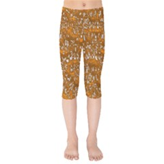 Glossy Abstract Orange Kids  Capri Leggings