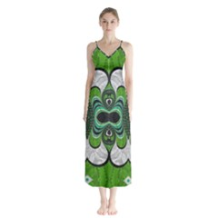 Fractal Art Green Pattern Design Button Up Chiffon Maxi Dress by BangZart