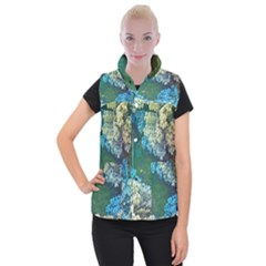 Fractal Formula Abstract Backdrop Women s Button Up Puffer Vest