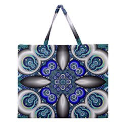 Fractal Cathedral Pattern Mosaic Zipper Large Tote Bag by BangZart