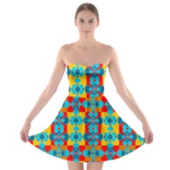 Pop Art Abstract Design Pattern Strapless Bra Top Dress by BangZart