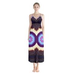 Mandala Art Design Pattern Button Up Chiffon Maxi Dress
