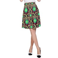 Pattern Background Bright Brown A Line Skirt