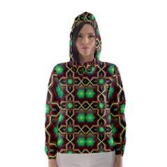 Pattern Background Bright Brown Hooded Wind Breaker (women)