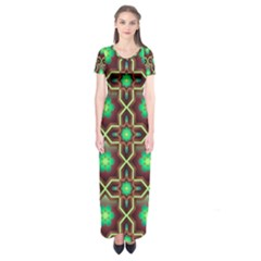Pattern Background Bright Brown Short Sleeve Maxi Dress