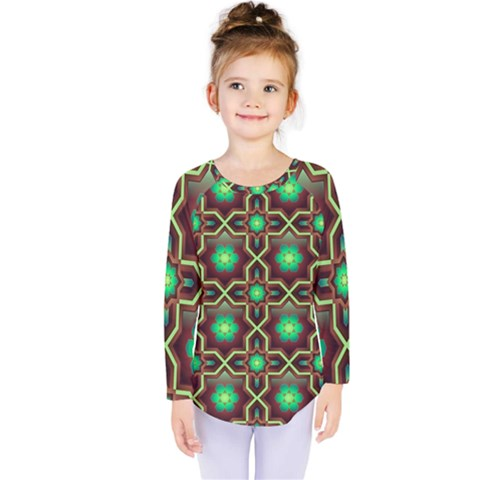 Pattern Background Bright Brown Kids  Long Sleeve Tee by BangZart