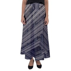 Fractal 3d Construction Industry Flared Maxi Skirt