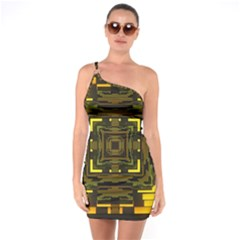 Abstract Glow Kaleidoscopic Light One Soulder Bodycon Dress