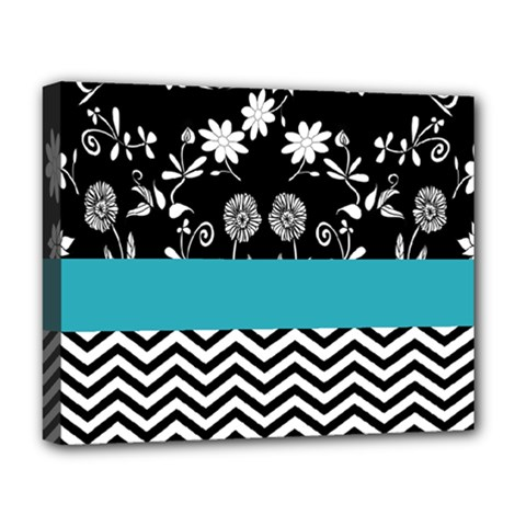 Flowers Turquoise Pattern Floral Deluxe Canvas 20  X 16   by BangZart