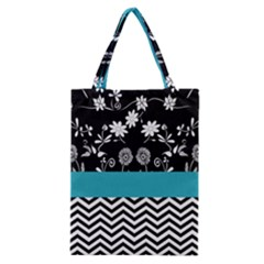 Flowers Turquoise Pattern Floral Classic Tote Bag by BangZart