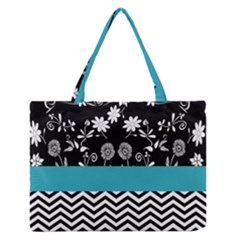 Flowers Turquoise Pattern Floral Medium Zipper Tote Bag by BangZart