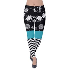 Flowers Turquoise Pattern Floral Velvet Leggings