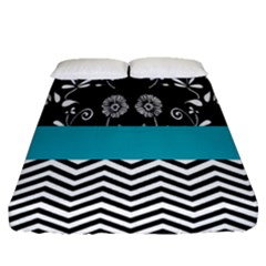Flowers Turquoise Pattern Floral Fitted Sheet (queen Size) by BangZart
