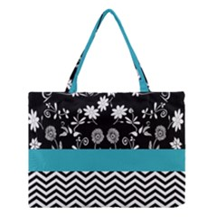 Flowers Turquoise Pattern Floral Medium Tote Bag