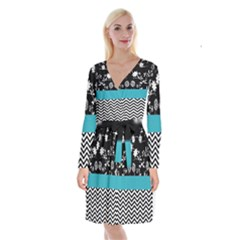 Flowers Turquoise Pattern Floral Long Sleeve Velvet Front Wrap Dress