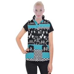 Flowers Turquoise Pattern Floral Women s Button Up Puffer Vest