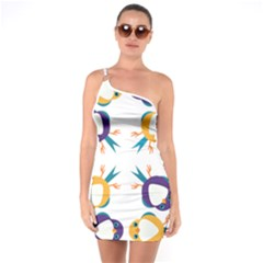 Pattern Circular Birds One Soulder Bodycon Dress by BangZart