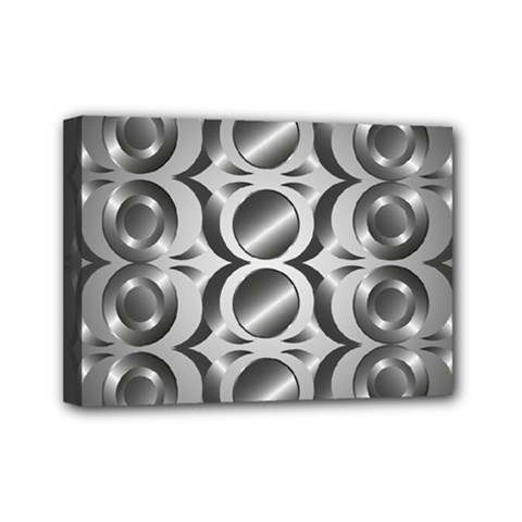 Metal Circle Background Ring Mini Canvas 7  X 5  by BangZart