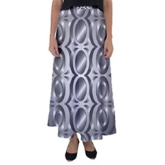 Metal Circle Background Ring Flared Maxi Skirt