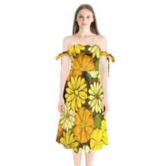 Abstract #417 Shoulder Tie Bardot Midi Dress by RockettGraphics