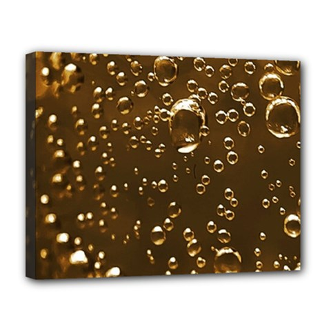 Festive Bubbles Sparkling Wine Champagne Golden Water Drops Canvas 14  X 11  by yoursparklingshop