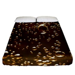 Festive Bubbles Sparkling Wine Champagne Golden Water Drops Fitted Sheet (queen Size) by yoursparklingshop