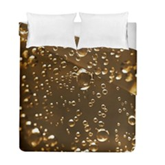 Festive Bubbles Sparkling Wine Champagne Golden Water Drops Duvet Cover Double Side (full/ Double Size) by yoursparklingshop