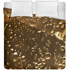 Festive Bubbles Sparkling Wine Champagne Golden Water Drops Duvet Cover Double Side (king Size) by yoursparklingshop