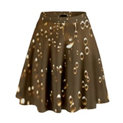 Festive Bubbles Sparkling Wine Champagne Golden Water Drops High Waist Skirt by yoursparklingshop