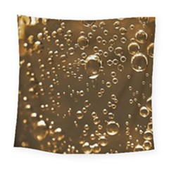 Festive Bubbles Sparkling Wine Champagne Golden Water Drops Square Tapestry (large) by yoursparklingshop