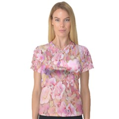 Lovely Floral 36a V Neck Sport Mesh Tee by MoreColorsinLife
