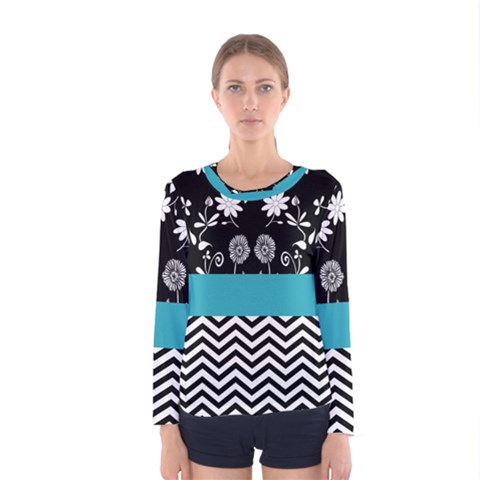 Flowers Turquoise Pattern Floral Women s Long Sleeve Tee by BangZart