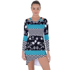Flowers Turquoise Pattern Floral Asymmetric Cut Out Shift Dress