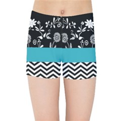 Flowers Turquoise Pattern Floral Kids Sports Shorts