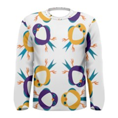 Pattern Circular Birds Men s Long Sleeve Tee by BangZart