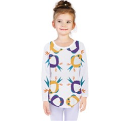 Pattern Circular Birds Kids  Long Sleeve Tee by BangZart