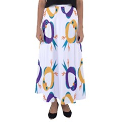 Pattern Circular Birds Flared Maxi Skirt