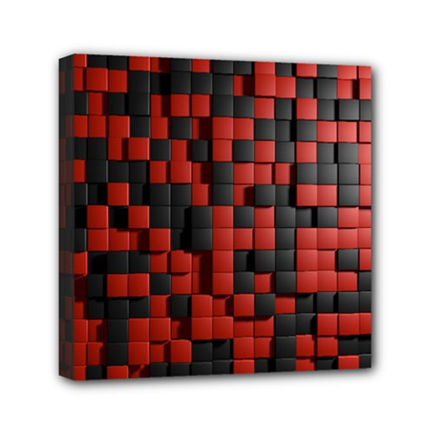 Black Red Tiles Checkerboard Mini Canvas 6  X 6  by BangZart