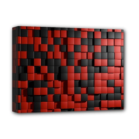 Black Red Tiles Checkerboard Deluxe Canvas 16  X 12   by BangZart