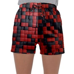 Black Red Tiles Checkerboard Sleepwear Shorts