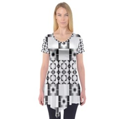 Pattern Background Texture Black Short Sleeve Tunic  by BangZart