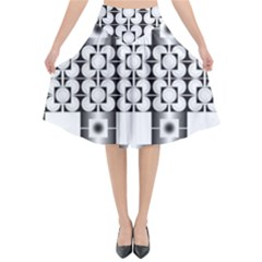 Pattern Background Texture Black Flared Midi Skirt