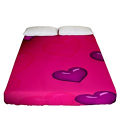 Background Heart Valentine S Day Fitted Sheet (king Size) by BangZart