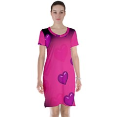 Background Heart Valentine S Day Short Sleeve Nightdress