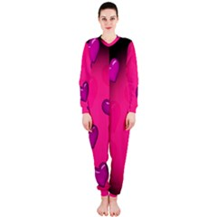 Background Heart Valentine S Day Onepiece Jumpsuit (ladies)