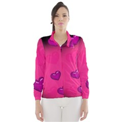 Background Heart Valentine S Day Wind Breaker (women) by BangZart
