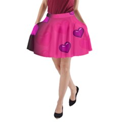 Background Heart Valentine S Day A Line Pocket Skirt by BangZart