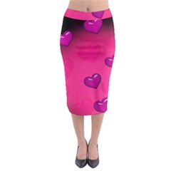Background Heart Valentine S Day Midi Pencil Skirt by BangZart
