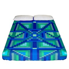 Grid Geometric Pattern Colorful Fitted Sheet (california King Size) by BangZart
