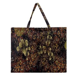 Wallpaper With Fractal Small Flowers Zipper Large Tote Bag by BangZart